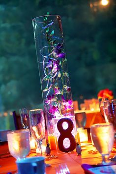 Fun Wedding center piece idea for those who aren't big flower fans. Large glass cylinder with Pink Orchids and lighted base. Orange and Pink Penguin themed wedding at the Florida Aquarium.