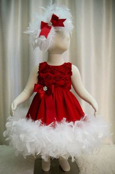 Red Rosette Feather Dress and Headpiece  Christmas by cd1ofakind