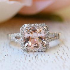 Princess Bride Diamonds | Huntington Beach | The 14K White Gold Cushion Morganite Engagement Ring