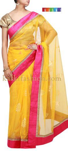 Buy it now http://www.kalkifashion.com/yellow-saree-with-pink-border.html Yellow saree with pink border