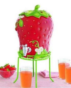 Oh i want this so badly. So cute for showers, and backyard BBQ.  Martha Stewart strawberry drink dispenser, $79 at Macy's.