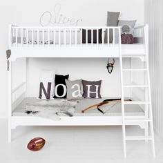 Seaside Bunk Bed with Slant Ladder in White by Oliver Furniture