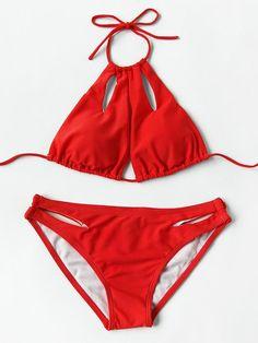 Cutout Detail Halter Bikini Set