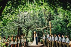 Forest Wedding under Pine Trees. Southern California, rustic cabin wedding venue.  ©Isaiah & Taylor Photography - Pine Rose Cabin - Lake Arrowhead - Los Angeles Destination Wedding Photographer