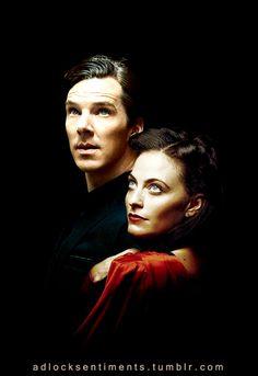 adlocksentiments: Sherlock and Irene in disguise? ;) Ben's image from @duskybatfishgirl Lara's image from @nixxie-fic lovely!