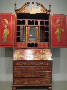Desk and Bookcase c. 1735 England Attributed to Giles Grendey - Walnut with red and gold lacquer and mirror glass Asian Furniture, Antique Furniture, Modern Furniture, Furniture Design, Chair Design, Design Design, Lacquer Furniture, Hand Painted Furniture, Plywood Furniture