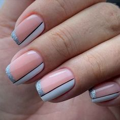 Sparkle Nails, Pink Nails, Gel Nails, Best Acrylic Nails, Acrylic Nail Designs, Nagellack Design, Nail Art Designs Videos, Lines On Nails, Pretty Nail Art