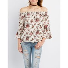 Charlotte Russe Floral Smocked Off-The-Shoulder Top ($24) ❤ liked on Polyvore featuring tops, blouses, ivory combo, off the shoulder ruffle blouse, flared sleeve blouse, off the shoulder tops, floral off the shoulder top and boho blouse