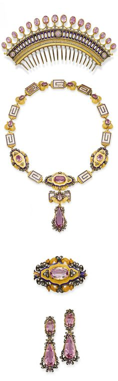AN ANTIQUE PINK TOPAZ, ENAMEL, DIAMOND & GOLD PARURE. Comprising: a comb tiara set with a fringe of oval pink topazes to the openwork gold, blue enamel & diamond decoration; a necklace/choker with removeable links supporting a detachable plaque brooch & Royal Jewelry, Jewelry Sets, Jewelry Accessories, Fine Jewelry, Indian Jewelry, Victorian Jewelry, Antique Jewelry, Vintage Jewelry, Diamond Decorations