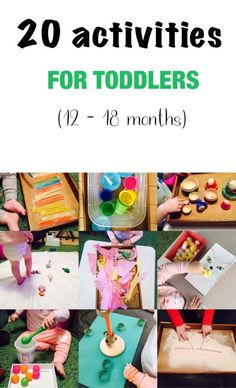 20 activities for 12-18 months old, 20 play ideas for toddlers, activities for one year old, montessori activities for a toddler.