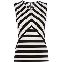 Karen Millen Stripe Ponte Top, Black/White (260 DKK) ❤ liked on Polyvore featuring tops, blouses, shirts, blusas, sleeveless tops, black and white shirt, v neck blouse, print shirts, white and black striped shirt and striped sleeve shirt