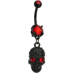 Red Black Gem Paved Sinister Skull Dangle Belly Ring | Body Candy Body Jewelry