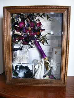 Pinner says:  What will you do with your wedding flowers ? Handcrafted from solid oak, this will be more than a display, it will be a family heirloom. Display not only your flowers, but any other keepsakes you want included. Because we hand build them, they can be built to the size you want. You will choose the frame style and color. The options are endless. We definitely can make them for any items, even if there are no flowers. Perfect for sports memorabilia too. Bridal bouquet, floral preservation.