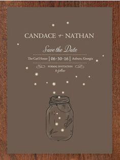 cute fireflies save the date card
