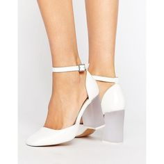 ASOS PRIMA DONNA High Block Heels (225 PLN) ❤ liked on Polyvore featuring shoes, pumps, white, almond toe pumps, clear shoes, white ankle strap pumps, ankle tie pumps and asos shoes