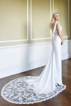 Feel super sultry in this glamorous lace and crepe fit-and-flare bridal gown. Astra will turn heads with her deep back and show-stopping lace train. Crepe Wedding Dress, Amazing Wedding Dress, Glamorous Wedding Inspiration, True Bride, Autumn Wedding, Summer Wedding, Diy Wedding, Wedding Ideas, Designer Wedding Dresses