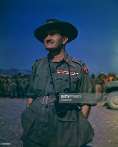 World War Two, March, 1945, Asia, Portrait of General William Slim, commander of the 14th army at a flag raising ceremony at Fort Dufferin in Burma.
