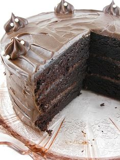Sinfully chocolate cake with espresso and chocolate marscapone filling!