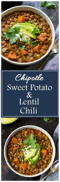 One Pot Chipotle Sweet Potato & Lentil Chili- a healthy chili that's packed full of flavor! (vegan, glutenfree, grainfree)