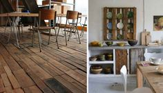 . Wood Pallet Flooring: If you're feeling ambitious, try this unusual diy option for flooring - refurbished wood floors made from recycled pallets. The uneven planks and varying stains will bring loads of character to any space. But be prepared, this project may take longer than a weekend warrior can handle.