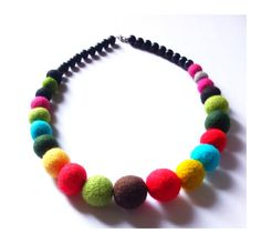 Colorful felted necklace balls light red by MarudaFelting on Etsy