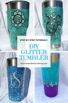 Glitter Tumbler DIY Tutorial You'll Love from Start to Finish! - Leap of Faith Crafting - DIY glitter tumbler step by step and video tutorial. Learn how to make a custom tumbler from begin - Tumbler Diy, Diy Tumblers, Personalized Tumblers, Custom Tumblers, Tumbler Cups, Glitter Tumblers, Kids Tumbler, Glitter Projects, Glitter Crafts