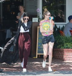 Kendall Jenner Photos - BFF's Kendall Jenner and Gigi Hadid are spotted out shopping at Fred Segal in West Hollywood, California on June 1st, 2016. After shopping the pair had lunch before heading off. Gigi was rocking a psychedelic t-shirt with a big rip in the front of it. - Kendall Jenner and Gigi Hadid Go Shopping at Fred Segal