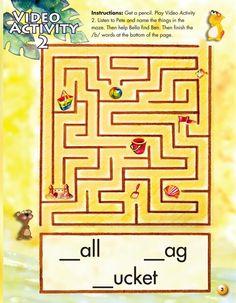 미로 찾기 놀이를 하면서 만나게 되는 그림의 답(철자)을 맞춘다.  단어 암기나 복습을 할때 도움이 될 것이다.