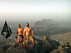 CIA Global Response Staff contractors on a mountaintop in Afghanistan.