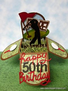 Creations by Patti: Golf Birthday Box Card n Treat Holder - Pop Up Flower Cards, Pop Up Box Cards, Flip Cards, 3d Cards, Golf Cards, Baby Cards, Creative Birthday Gifts, Birthday Gift Cards, Birthday Box