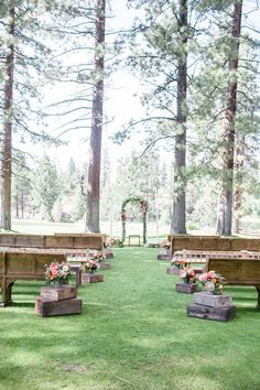The church pews take this outdoor ceremony to a whole 'nother level. Wedding Flowers: Petalworks, Wedding Photographer: Jasmine Star, Wedding Coordinator: amazáe | events