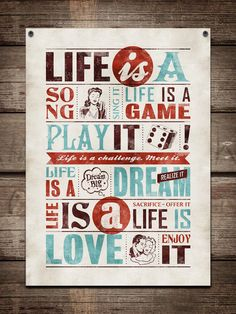 "Retro typography / retro poster, typography word art, inspirational typography  / ""Life Is"" / 20""x28"".  on etsy"