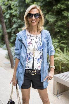 New on the blog our Blue Denim Cargo Jacket and Ivory Blue Pink Floral Stripe Tshirt both available in our shop www.jacketsociety.com