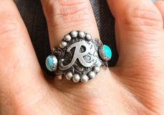 Get a custom Initial or brand ring personalized just for you. A textured background and 2 kingman turquoise make this unique just like you. Go grab one now before they are gone. Big Rings, Small Rings, Unique Rings, Kingman Turquoise, Turquoise Gemstone, Bracelet Size Chart, Affordable Rings, Square Rings, Custom Jewelry