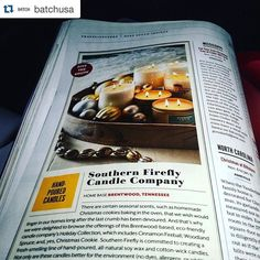 I haven't even gotten my hands on the issue yet!!! #Repost @batchusa  Yes! So awesome to see our friends @southernfireflycandle in the latest issue of @southernlivingmag - happy holidays!  #candles #southern #handmade #smellslikechristmas #nashville