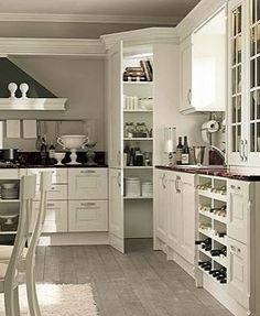 Corner Pantry Cabinet Over Fridge Best Traditional White Corner Kitchen Pantry Cabinet Ideas Corner Kitchen Pantry, Kitchen Pantry Cabinets, Kitchen Redo, New Kitchen, Pantry Cupboard, Corner Pantry Cabinet, Corner Cabinets, Corner Pantry Organization, Wall Pantry