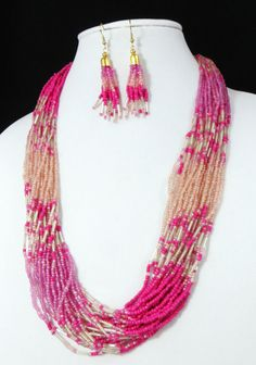 Cowgirl Bling Southwest Pink fuschia Multi str Indian style Bead necklace set #icon