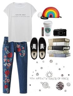 """Sin título #615"" by mary-nava ❤ liked on Polyvore featuring WithChic, MANGO, Vans, Burt's Bees and Betsey Johnson"
