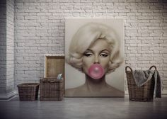 Marilyn Monroe bubble gum oversized canvas art print by CoolPoster $30
