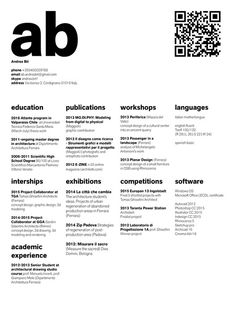 The Top Architecture Résumé/CV Designs,Submitted by Andrea Bit