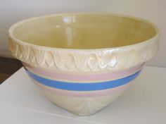 Yellow Ware Bowl Vintage Country Pink Blue by mainevintagetreasure, $50.00