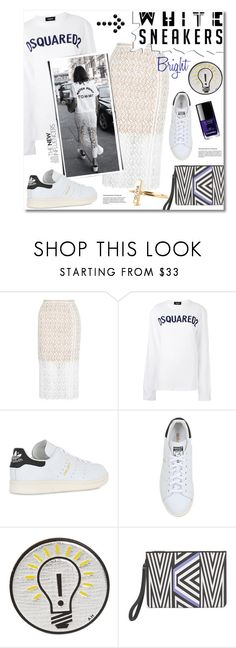 """""""Bright White Sneakers"""" by watereverysunday ❤ liked on Polyvore featuring New Look, Dsquared2, adidas Originals, Anya Hindmarch, MCM, Chanel, lace, whitesneakers and logos"""
