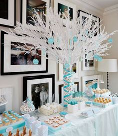 35 Pretty Winter Baby Shower Ideas. Love this blue and white combination for a decadent dessert display.