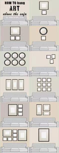 תליית תמונות מעל הספה