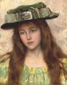 ▴ Artistic Accessories ▴ clothes, jewelry, hats in art - Albert Lynch | A Young Beauty in a Green Hat