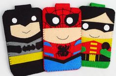 Hero collection Handmade Spiderman iphone, iphone 4S felt cell phone case by MyOwnDoll