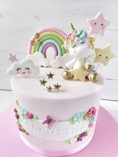 1st Birthday Cake For Girls, Baby Birthday Cakes, Baby Girl Cakes, Unicorn Cake Design, Bolo Fondant, Cupcake Cakes, Cupcakes, Beautiful Birthday Cakes, Gateaux Cake