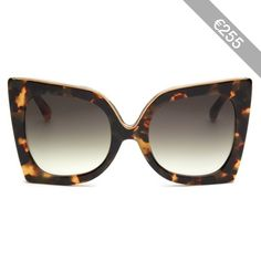 7ecf9f07bf No.21 Oversized metal brow tortoiseshell cat eye gradient sunglasses  Tortoiseshell Cat