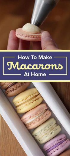 Here's How To Make The Best Macarons At Home Next step: Open your very own macaron shop. - Here's How To Make Perfect Macarons At Home Mini Desserts, Just Desserts, Delicious Desserts, Dessert Recipes, How To Make Desserts, Plated Desserts, Fun Deserts To Make, Fun Foods To Make, Eggless Desserts