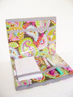 Travel Portfolio 5 pocket Bright and Fun Paisley by keepeweclean, $20.00
